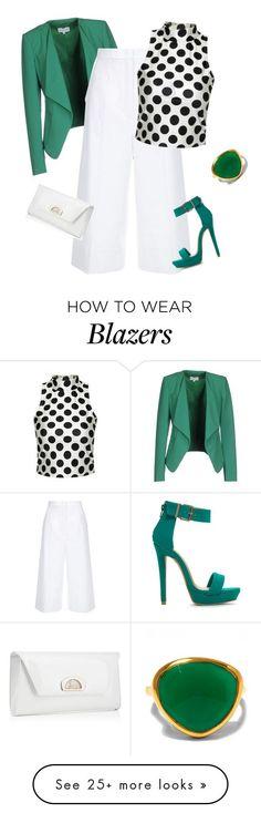 Blazer Verde, Blusa de Bolinha, Saia Branca, Sandália Verde
