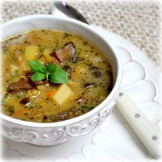 Potato soup - this is my favorite Czech soup. Shredded Potatoes, Shredded Carrot, Dried Mushrooms, Stuffed Mushrooms, Czech Recipes, Ethnic Recipes, Potato Soup, Cheeseburger Chowder, Carrots