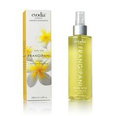 Frangipani Body Mist Size: 200ml / 6.8fl oz  RRP: AUD$23.95  Product Code: 1152206  available from www.evodia.com.au Body Mist, Mists, Fragrance, Bottle, Aud, Flask, Jars, Perfume