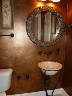 bronze looking walls painted Small Bathroom Decor, Faux Painting Walls, Decor Design, Bathroom Makeover, Round Mirror Bathroom, Bathroom Design Small, Living Room Red, Gray Bathroom Decor, Bathroom