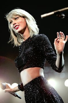 Taylor Swift on a stage