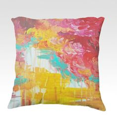 AUTUMN SKIES  Fine Art Velveteen Throw Pillow Cover, Decorative Home Decor Colorful Fine Art Toss Cushion, Modern Bedroom Bedding Dorm Room Living Room Style Accessories by EbiEmporium, $75.00
