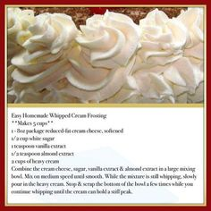 Whipped vanilla icing recipe easy by bonnie Easy Homemade Whipped Cream Frosting This is so delicious. It won't melt at room temperature like regular whipped cream. It's very stable. It's wonderful used for frosting a cake or even dipping fruit in it! Cupcake Creme, Vanilla Icing Recipe, Butter Cream Icing Recipe, Best Frosting For Cupcakes, Cupcake Frosting Recipes, Vanilla Frosting, Just Desserts, Delicious Desserts, Cake Topper Banner