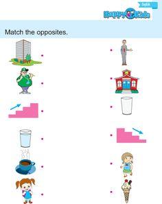 Kindergarten English Match The Opposites… Kindergarten Science, Preschool Learning Activities, Free Preschool, English Worksheets For Kids, Kids Worksheets, English Book, English Grammar, English Alphabet Writing, Numbers Preschool