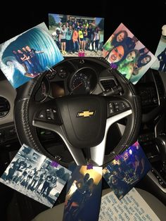 Birthday surprise for my friend! We used binder clips and and clipped pictures to her steering wheel cover, seat belts, and air fresheners in her car and the. Filled the backseat with balloons. #birthday #surprise