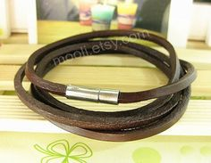 Real brown leather bracelet jewerly bangle bracelet cuff  by mooli, $4.50