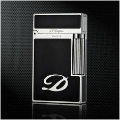 Bật lửa S.T.Dupont màu đen viền trắng bạc khắc chữ D - Mã SP: BLD 044