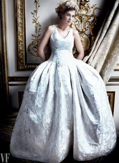 Rosamund Pike in DIOR Fall 2014 Haute Couture for Vanity Fair February 2015 by Mario Testino