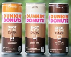 Dunkin's Donuts has launched a line of canned iced coffee beverages called Shot in the Dark. Espresso Coffee, Iced Coffee, Coffee Drinks, Coffee Line, Taco Boats, Shot In The Dark, Dunkin Donuts Coffee, Mocha, The Darkest