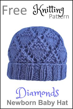 With this pattern by Daisy and Storm you will lear how to knit a Diamonds Newborn Baby Hat step by step. It is an easy tutorial about newborn to knit with crochet or tricot. Knitted Washcloth Patterns, Baby Hat Knitting Patterns Free, Baby Hat Patterns, Baby Hats Knitting, Crochet Baby Hats, Free Knitting, Booties Crochet, Knitting For Charity, Children's Knitted Hats