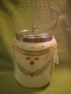 "Overshot Glass Biscuit Jar 7 1 2"" Tall with Twisted Metal Handle 