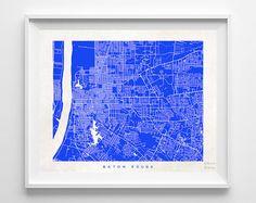Baton Rouge Louisiana Print Street Map Nursery by InkistPrints