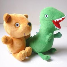 "2016 New 2pcs/lot Plush Doll Stuffed Toy Bear& dinosaur shipping to Brazil and drop shippingROGE Dinosaur 6.5""(17cm) fre"