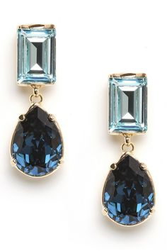 Rich blue tones and elegant mixed shapes give these sleek drop earrings their rich feel.  The ultimate piece to keep in your jewelry box, these sparklers will take you from the office to cocktails with ease.
