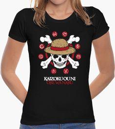 Diseño para camiseta de chica MUGIWARA KAIZOKU. Bandera pirata de la tripulación Sombrero de paja, del anime One Piece. - Tienda La Tostadora, por Cristina Valero