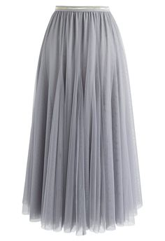 cbf396cd2f My Secret Weapon Tulle Maxi Skirt in Grey - Retro, Indie and Unique Fashion  Saum