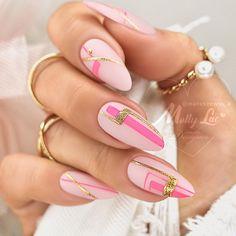 Glam Nails, Fancy Nails, Love Nails, Pink Nails, Manicure, Nail Tattoo, Geometric Nail, Pretty Nail Art, Dipped Nails