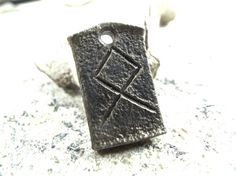 Othala Viking Rune Pendant - hand forged blacksmith wrought iron Celtic jewelry zipper charm iron anniversary gift idea