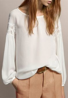 Chic Scoop Neck Long Sleeve Pure Color Spliced Women's Chiffon Blouse
