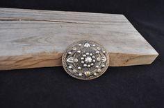 Vintage brooch filigree brooch oval multi metal pin JS1091 by Andiesvintage on Etsy