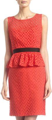 Chetta B - Eyelet Peplum Dress Red #15Things #fashion #style #trending #eyelets