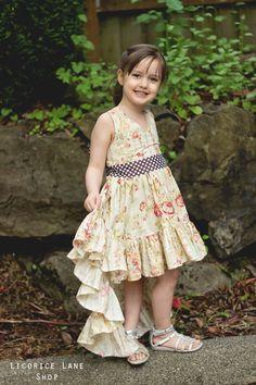 Hope's Hi-Low Dress PDF Pattern Sizes 6/12m to 8 Kids   Etsy High Low Skirt, Hi Low Dresses, Pdf Patterns, Children, Kids, Bodice, Flower Girl Dresses, Fancy, Princess