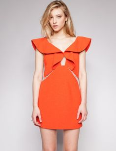 Orange crush ruffle dress - pixiemarket.com $182 - love the silhouette