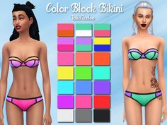 CREATED BY Lollaleeloo Created for: The Sims 4 Neon color block bikinis go great with a nice summer tan, beach waves and an ice cream :) Pink, teal, orange or neon green? Pick one and match it with...