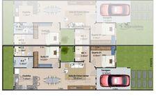 Planta de casa terrea cod135 Narrow House, Small House Plans, Floor Plans, Layout, Flooring, How To Plan, Architecture, Design, Ideas