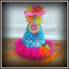 Hey, I found this really awesome Etsy listing at https://www.etsy.com/listing/152248040/lollipop-birthday-hat-rainbow-polka-dots