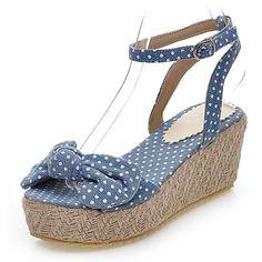 Σφήνα+τζιν+γυναικών+τακουνιών+Sling+Επιστροφή+σανδάλια+με+Bowknot+παπούτσια+(Περισσότερα+χρώματα)+–+EUR+€+24.74