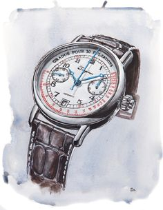 Longines Pulsometer-Chronograph illustration by Sunflowerman for Time and Tide Big Watches, Cool Watches, Watches For Men, Wrist Watches, Luxury Watches, Rolex Watches, Watch Drawing, Vintage Flowers Wallpaper, Blue Nose Friends