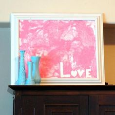 "This is very cute! Would be cute for grandparents for valentines :) how cute is that, use tape to write the word ""love"" or something along those lines, let b paint all he wants, frame and give as a gift - or hang on the wall. : )"