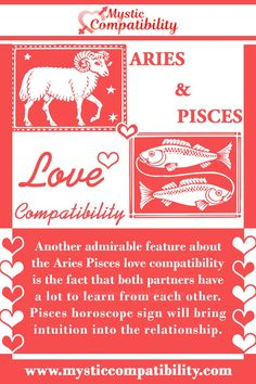 Another admirable feature about the Aries Pisces love compatibility is the fact that both partners have a lot to learn from each other. Pisces horoscope sign will bring intuition into the relationship. #Aries #Pisces #Relationship #Compatibility #Aries_Pisces #Relationship_Compatibility #AriesPisces #RelationshipCompatibility #Zodiac_Signs Aries And Pisces, Pisces Horoscope, Pisces Love, Horoscope Signs, Zodiac Signs, Pisces Relationship, Relationship Compatibility, Pisces Compatibility, Intuition