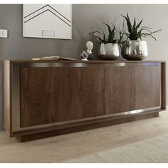 bahut moderne couleur bois et chrome larsen salle a manger moderne buffet salle a manger