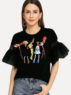 Dotfashion Black Lace Bow Cartoon Print Tee Women Autumn 2019 Fashion Clothes Casual Flounce Sleeve Tops Summer Preppy T-Shirt Half Sleeves, Types Of Sleeves, Shein Dress, Cocktail Outfit, Cocktail Dresses, Vetement Fashion, Preppy Style, Printed Tees, Latest Fashion For Women