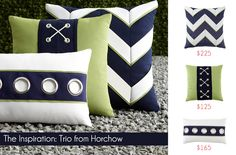 Designer Pillow Knock-Offs with Fairfield: Nautical Stripes & Grommets   Sew4Home