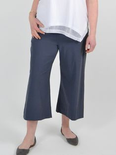 A simple wide leg pant with slight flare and cropped length. Comfortable, soft stretch waistband. Made in the U.S.A from easy to wear and care for jersey fabric. Wide Leg Pants, Flare, How To Make, How To Wear, Simple, Easy, Fabric, Clothes, Fashion