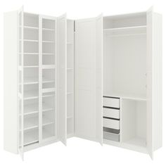 Ideas For Wardrobe Storage Solutions Organizers Ikea Pax Painted Drawers, Painted Doors, Armoires Beiges, Ikea Pax Corner Wardrobe, Wardrobe Storage, Pax Planer, Armoire D'angle, Pax System, Bedroom Decor