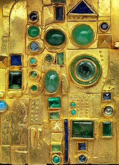 Gold Brooch - designed by Hermann Jünger (German, Hanau 1928–2005 Pöring) Date: ca. 1970–72 18K Gold, Emeralds, Chrysoprase, Sapphires, Opals, Lapis Lazuli, and Enamel Dimensions: H. 2 x W. 1 7/8 in. (5.1 x 4.8 cm)