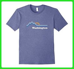 Mens Retro Washington T Shirt Vintage Sunrise Mountains Tee Desig Medium Heather Blue - Retro shirts (*Amazon Partner-Link)