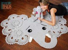 Elefanten-gehäkelte Wolldecke