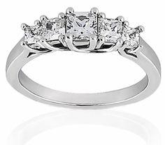 Graduated Five Stone Lucida Style Princess Cut Diamond Wedding Anniversary Ring