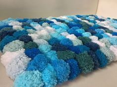 Ten Shades of Blue fluffy Pom Pom Rug