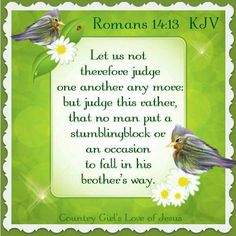 Hug Me Jesus ❤JESUS LOVES US❤ Shirley'sLove ROMANS Don't Cause Others to Sin So we should stop judging each other. Let's decide not to do anything that will cause a problem for a brother or sister or hurt their faith. ❤JESUS LOVES US❤ Jesus Scriptures, Bible Verses Kjv, King James Bible Verses, Bible Words, Favorite Bible Verses, Bible Verses Quotes, Faith Quotes, Biblical Verses, Jesus Help
