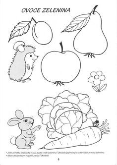 ovoce, zelenina Fall Crafts, Crafts For Kids, Arts And Crafts, Felt Patterns, Arts Ed, Autumn Activities, Preschool Worksheets, Printable Coloring Pages, Artist At Work