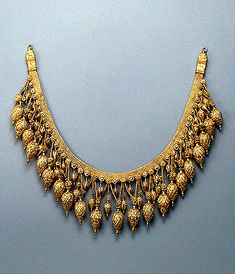 Necklace with Three Rows of Pendants 330-300s BC Bosporan Kingdom, Bolshaya (Large) Bliznitsa Barrow Taman Peninsula Gold; stamped, engraved, filigreed and