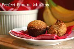 Perfect Banana Muffins | All She Cooks | #breakfast #muffins #bananas #bananabread