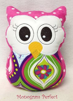 Pink Polka Dot Stuffed Owl Soft Toy Pillow by MonogramPerfect, $19.99