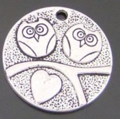 20PCS Vintage Silver Color Round Owl Tag Charms   04229